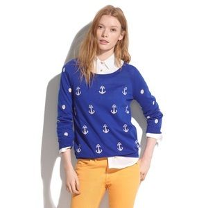 Madewell Blue Anchors & Dots Sweater Size M